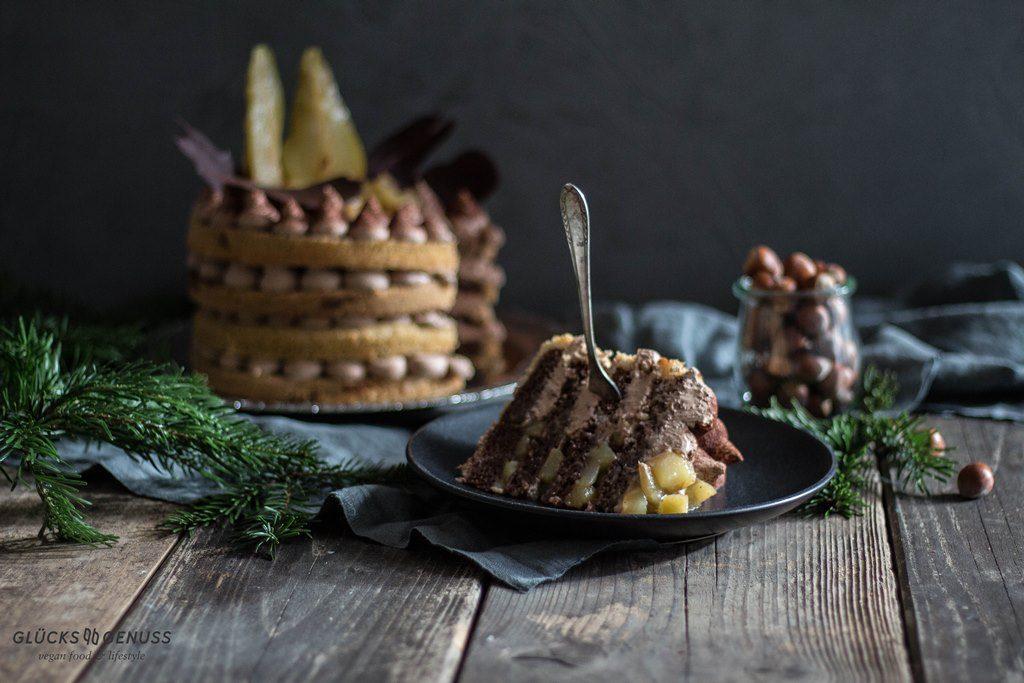 Glühweintörtchen mit Birnenkompott & Schokolade