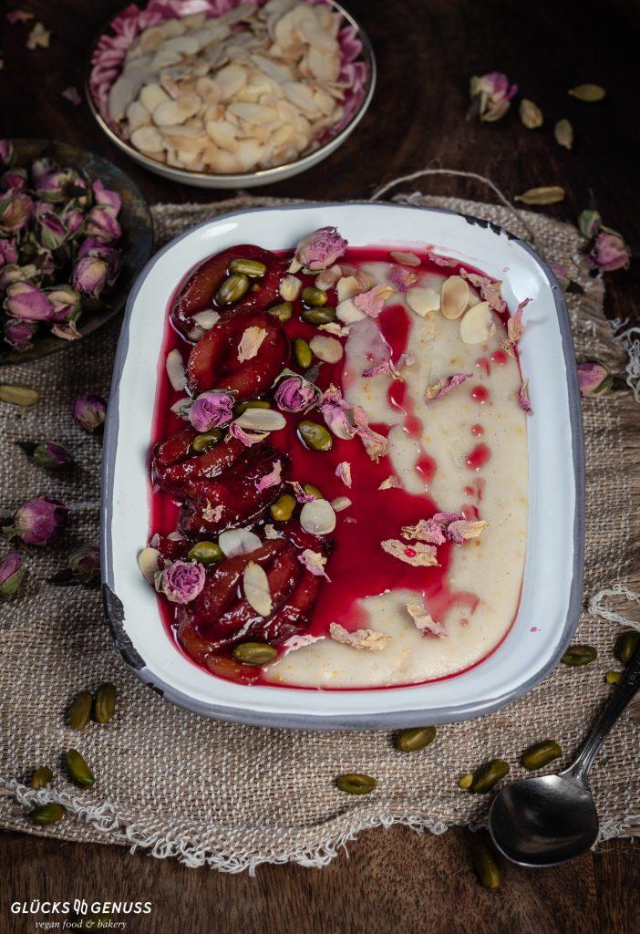 Persischer Reispudding mit Rosenwasser