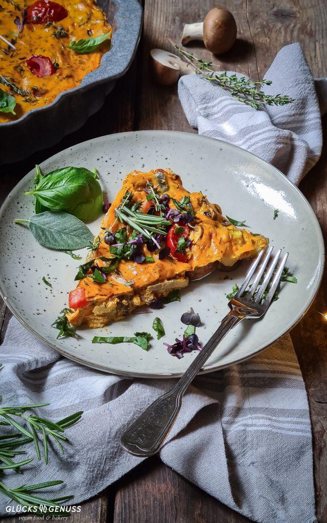 Vegane Frittata mit Gemüse